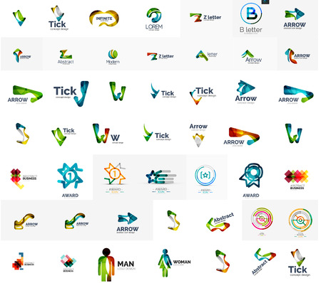 Large corporate company logo collection. Universal icon set for various ideas Illustration