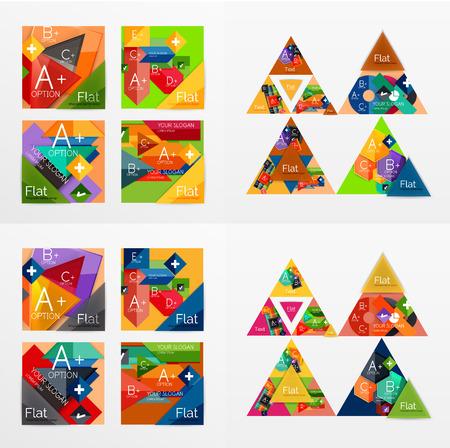 d data: Flat design geometric info banners, web boxes