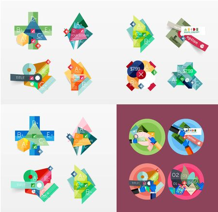 elements web: Modern geometric design temlates, universal diagram, banner, number options, workflow layout, steps, web elements