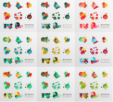 numbers abstract: Geometric banners, templates, layouts. Paper graphics Mega collection Illustration