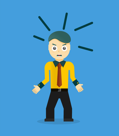 unhappy worker: Angry young cartoon businessman or office worker. Flat design Illustration