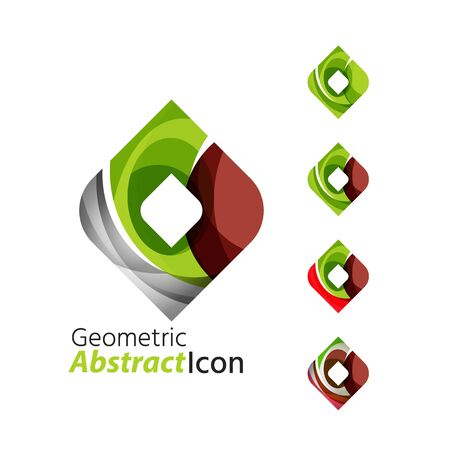 rhomb: Set of abstract geometric company logo square, rhomb Illustration