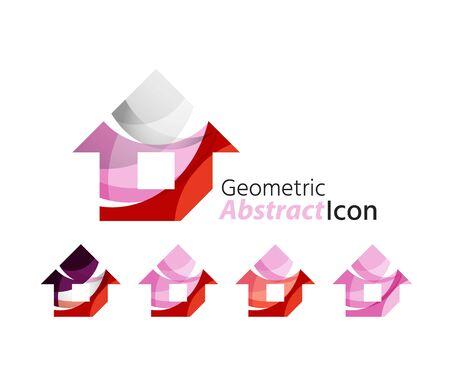 house logo: Set of abstract geometric company logo home, house, building