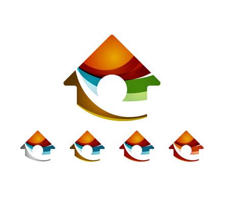 logo casa: Set di astratto geometrico logo aziendale, casa, edificio