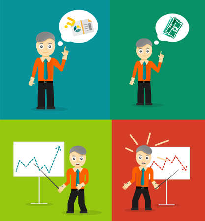 financial consultant: Set of cute cartoon young businessmen. Idea concept and finance report graph