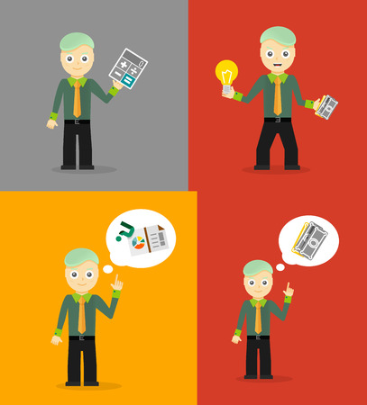 finance report: Set of cute cartoon young businessmen. Idea concept and finance report graph
