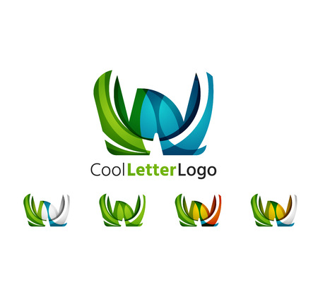 Set of abstract W letter company logos. Business icons, overlapping flowing waves Vector