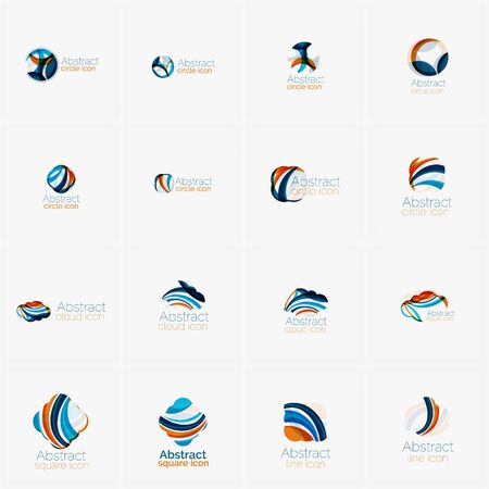 lumière abstrait: Set of light abstract geometric business company logos. Clean modern design, flowing elements Illustration