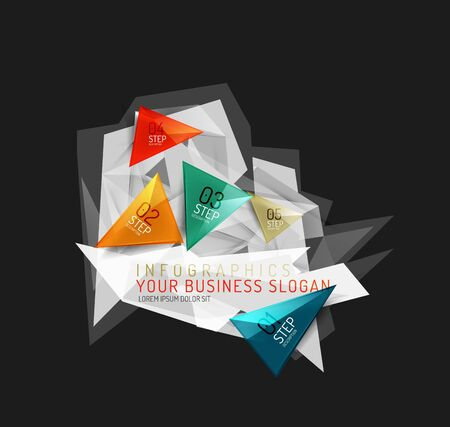 origami paper: Modern polygonal origami paper infographics
