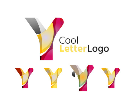 abstract logos: Set of abstract Y letter company logos. Business icons, overlapping flowing waves