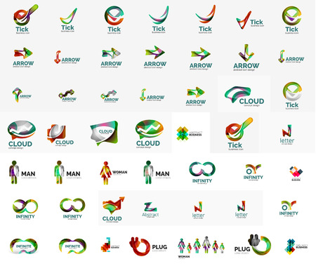 Large corporate company logo collection. Universal icon set for various ideas Vector