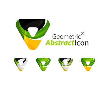 Set of abstract geometric company icon triangles, arrows Vector
