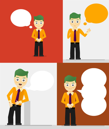 Set of young businessmen with speech bubbles. Talking, thinking concept. Flat design Vector