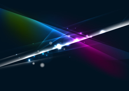 Abstract color glowing lines in dark space with stars and light effects Vector