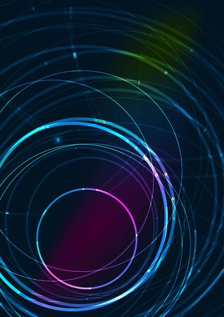 Abstract color glowing lines in dark space with stars and light effects - futuristic circle Vector
