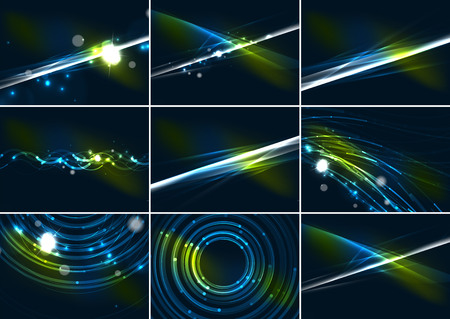 Abstract color glowing lines in dark space with stars and light effects background set Vector