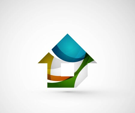 logo casa: Geometrico astratto logo aziendale, casa, edificio Vettoriali
