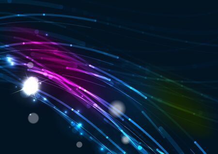 Abstract wave color glowing lines in dark space with stars and light effects Vector