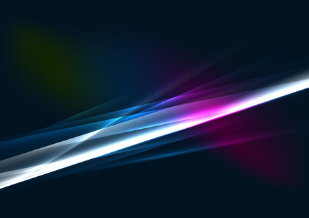 Abstract color glowing lines in dark space with stars and light effects