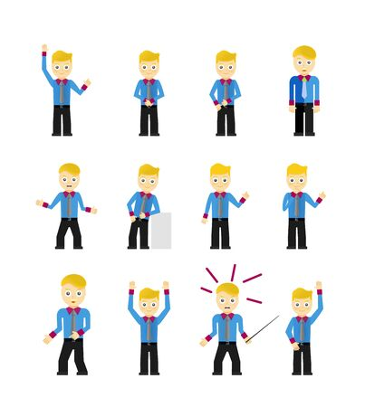 character poses: Set of cute young businessmen character poses isolated on white Illustration