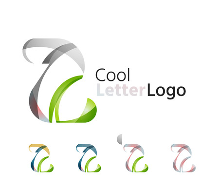 abstract logos: Set of abstract Z letter company logos. Business icons, overlapping flowing waves Illustration