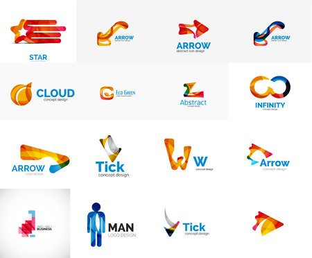 Set of universal company logo ideas, business icon collection Illustration