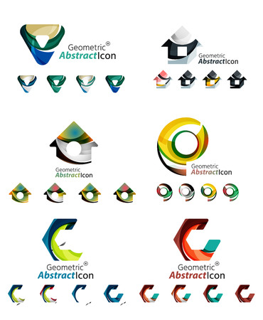 home construction: Universal abstract geometric shapes - business emblems Illustration
