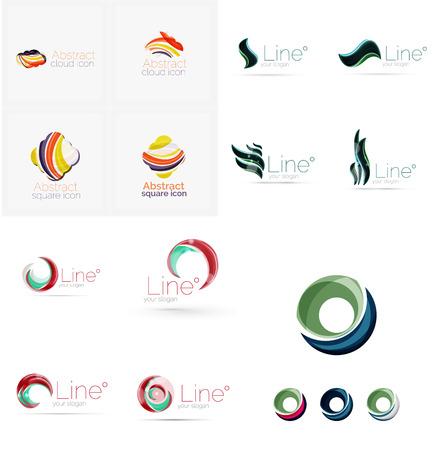 Set of swirl, wave lines, circle logo icons Logo