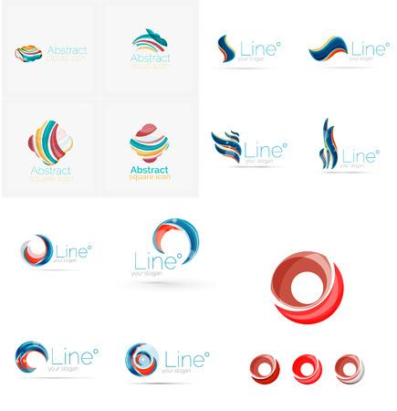 Set of swirl, wave lines  Illustration
