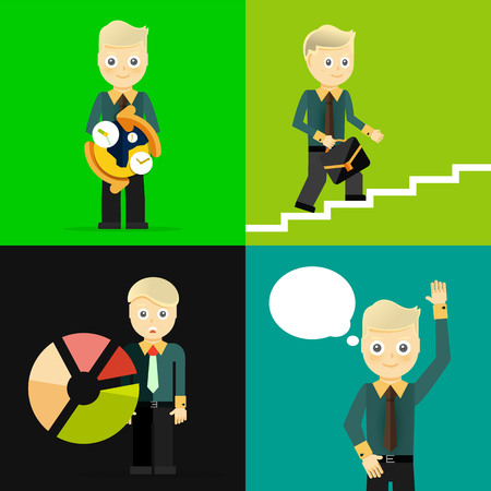 set going: Set of businessman pose character concepts Illustration