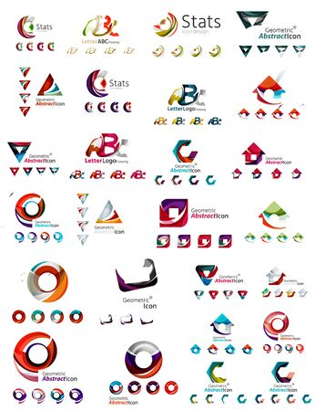 loops: Mega collection of various abstract business emblems - loops, geometric shapes Illustration