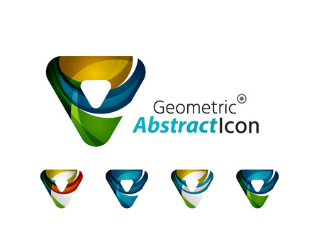 Set of abstract geometric triangles, arrows Vector