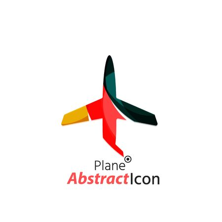 corporate airplane: Abstract geometric business corporate emblem - airplane