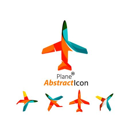 business travel: Abstract geometric business corporate emblem - airplane