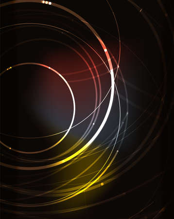 blending: Glowing circle and blending colors in dark space. Vector illustration. Abstract background