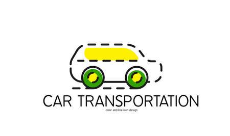 car transportation: Color de icono de la l�nea de dise�o plano aislado en blanco. El transporte de coches