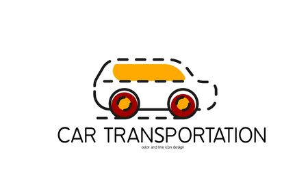 car transportation: Color line icon for flat design isolated on white. Car transportation