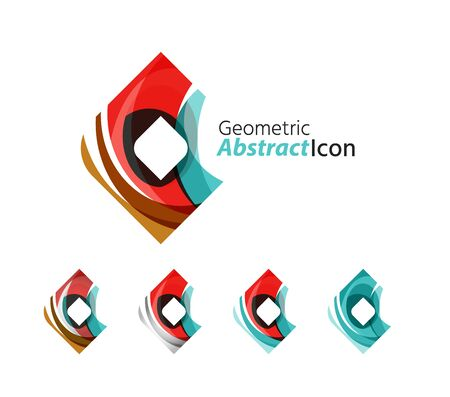 rhomb: Set of abstract geometric company icon square, rhomb. Vector illustration of universal shape concept made of various wave overlapping elements