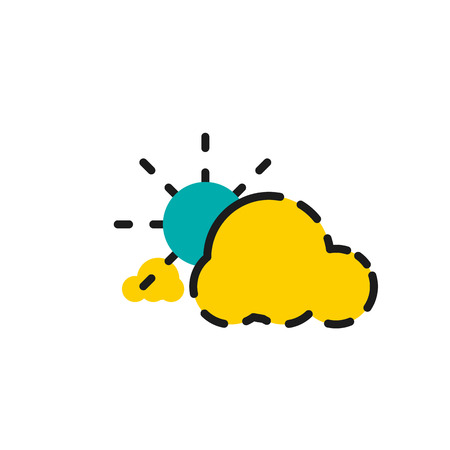 ร   ร   ร   ร  ร ยข  white clouds: Color line icon for flat design isolated on white. Clouds and sun