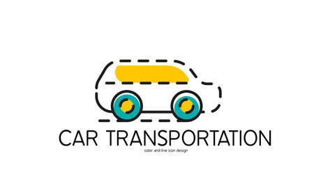 Color line icon for flat design isolated on white. Car transportation Vector