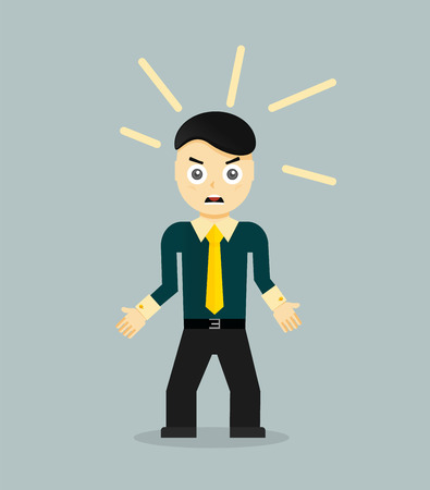 discouraged: Angry young cartoon businessman or office worker. Flat design. Vector illustration