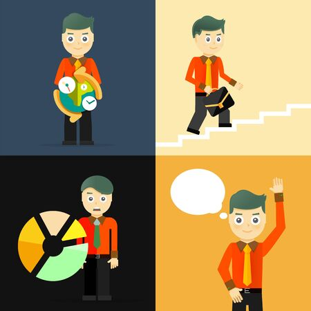 set going: Set of businessman pose character concepts. Step, world, office and charts. Flat design