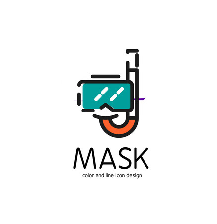 rubber tube: Color line icon for flat design isolated on white. Mask and snorkel