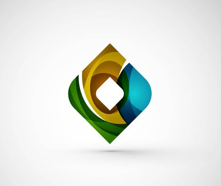 rhomb: Abstract geometric company logo square, rhomb. Vector illustration of universal shape concept made of various wave overlapping elements
