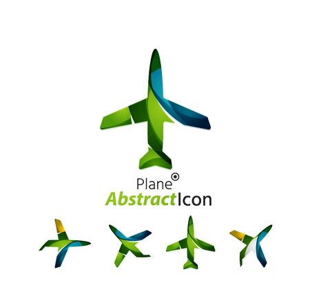 airplane: Abstract geometric business corporate emblem - airplane. Logo icon design for travel or any other idea Illustration