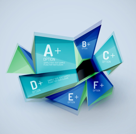 sample: 3d geometric shapes with sample text