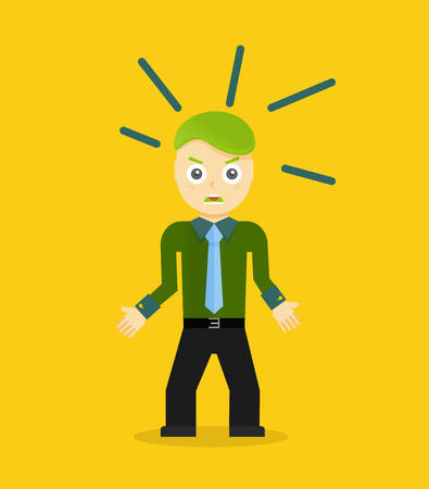 unhappy worker: Angry young cartoon businessman or office worker. Flat design. Vector illustration