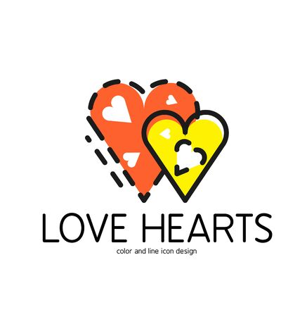 love hearts: Color line icon for flat design isolated on white. Love hearts symbol