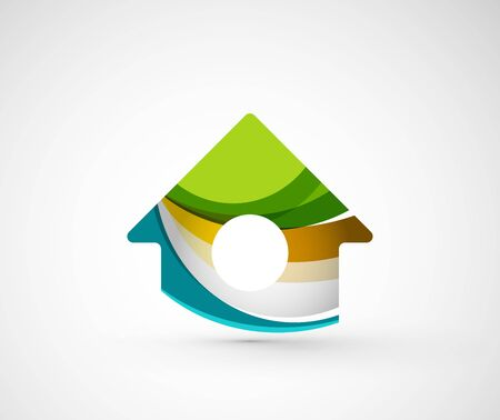 brand logo: Abstract geometric company logo home, house, building. Vector illustration of universal shape concept made of various wave overlapping elements Illustration