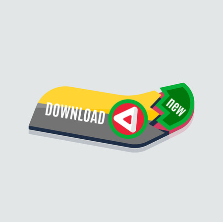 simple design: Colorful download web button with arrow. Modern flat design, paper graphic, website icon and design element